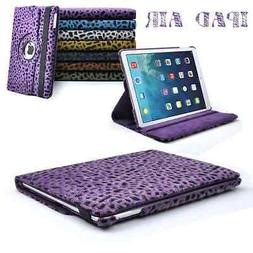 360 rotation Leopard Faux Fur Stand Case Cover For Apple iPa