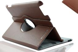 Brown 360 Rotating Folio Flip Case Cover Stand for New iPad