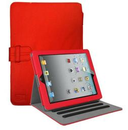 durable leather red ipad folio case