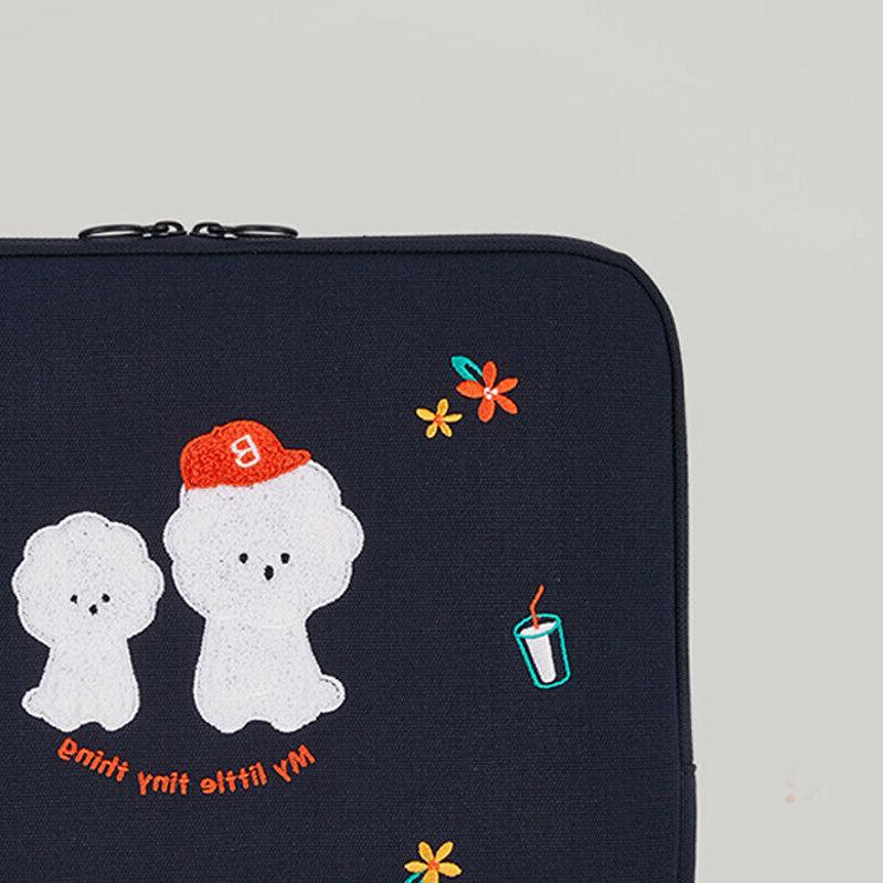 """15"""" 16"""" Bookle Bichon Laptop Notebook Padded Pouch Sleeve Fur Bag"""