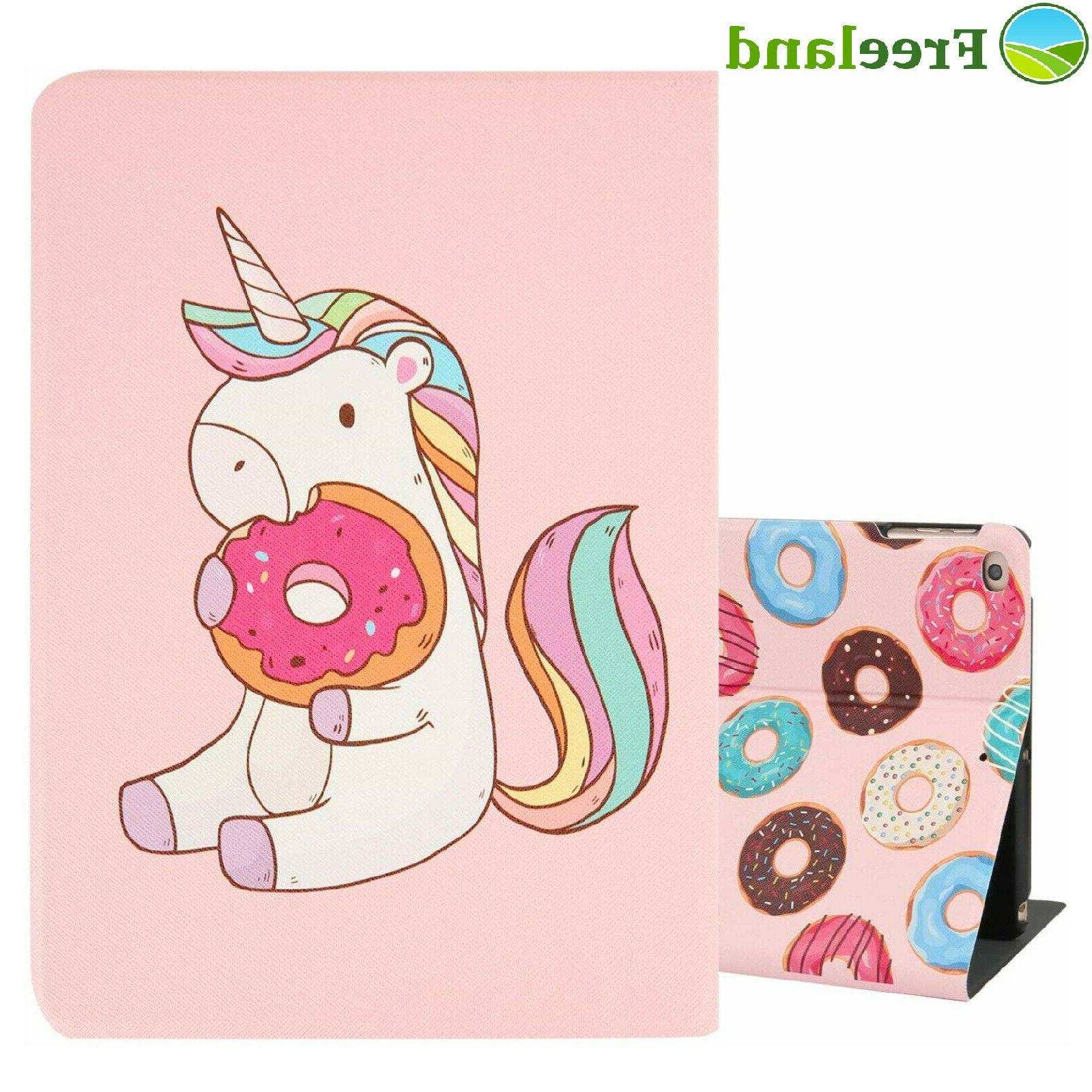 For iPad Air 2 Case Kids Cute Unicorn Donuts Pink Leather Te
