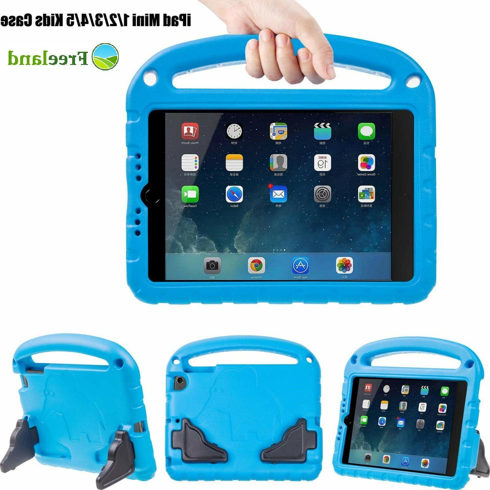 For iPad Mini 2 3 4 5 Case Blue For Kids Friendly Teens Hand
