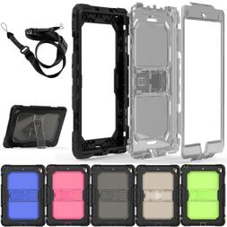 Shockproof Kickstand Case with Strap For Apple iPad 9.7 2018